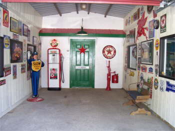 We turned the center of our barn into a Texaco Station.
