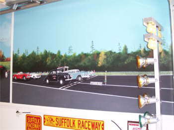 This is from Spencer's drag racing days. This is Suffolk Raceway. The cars taking off at the light are the first two cars Spencer raced and the two getting ready to stage were his last two cars. For Christmas Betty gave him a Christmas Tree to keep up his