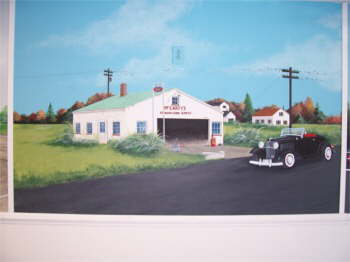 A mural of Spencer's transmission show, started by his dad and later Spencer added on to enlarge the show.