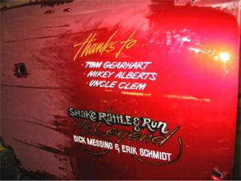 HERE IS THE PHOTO OF THE MEMORIAL LETTERING ON THE NEW REVIDED SHAKE, RATTLE AND
