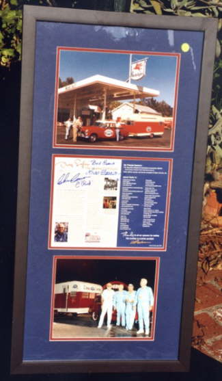 Framed set of photos of the original members of the NHRA Safety Safari, autorgraphed by the four members of the team and NHRA founder Wally Parks.