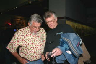 Museum Board Member Steve Gibbs (l) and motorsports artist Kenny Youngblood during the Night of Champions.