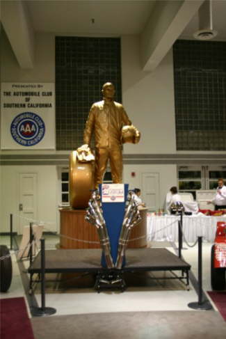 The statue of the NHRA Champion's Trophy has been moved back to give more room in the Hall of Champions at the Museum