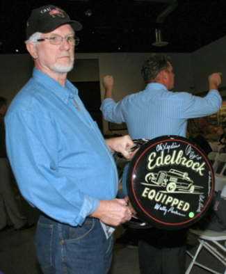 This Edelbrock bar stool was signed by attendees at January's Panel Discussion, including Wally Parks, Vic Edelbrock Jr., Ed Pink, Alex Xydias and Ed Iskenderian. It was auctioned on Thursday night.