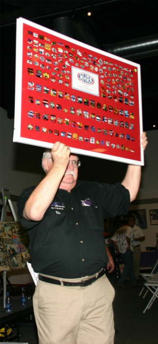 This collection of more than 200 event pins was auctioned on Thursday night.