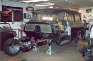 1958 Chevy Suburban (Beater Rod) – Air Ride Mustang II, 4-Link Rear With Sway Bars, American Salt Flat 17's, AC, Many Custom Body Mods Planned.