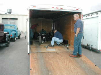 Jack loading & securing his frame in the trailer.