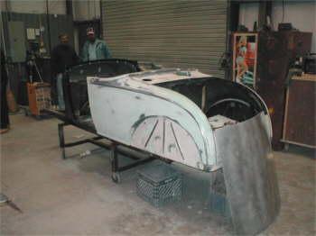 Original steel Model A Roadster being built for a customer.