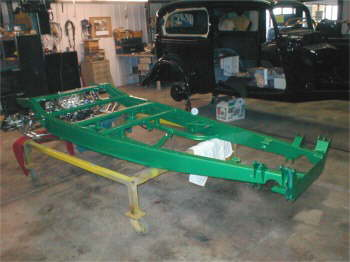'32 Ford frame being set up with al show Heidts rear & Open wheel front suspensiion.