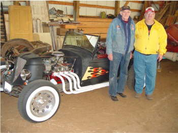 Deaner & Fuzzy by the Rat Rod he built!
