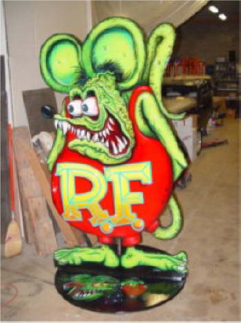 Hey, check out this 8 foot Rat Fink painted by Jimmy Flintstone!
