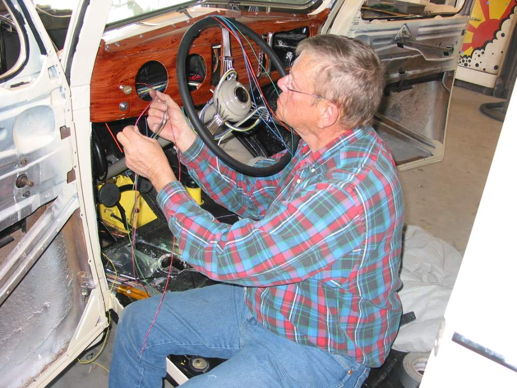 John now prepares the wires for the gauge clusters. The chassis harness  comes with all the gauge wires as well as the power wire.