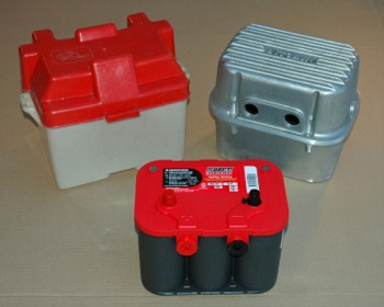 In Products Finned Aluminum Battery Box Bolts Together Two Sections With Br Cable Attachment Posts That Into Side Outlets On The