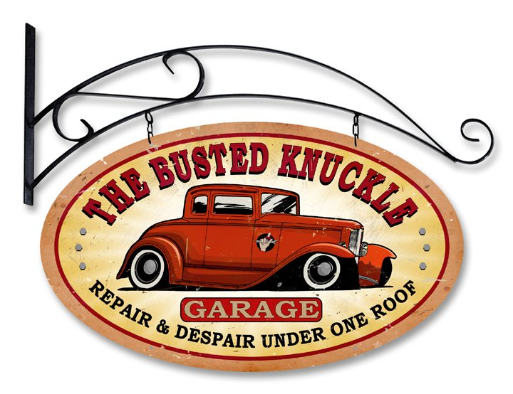 Made in USA Busted Knuckle Garage Double Sided Oval Steel Sign with Hanger