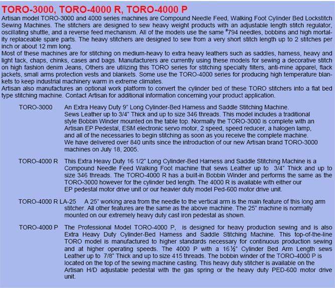 toro 3000 sewing machine