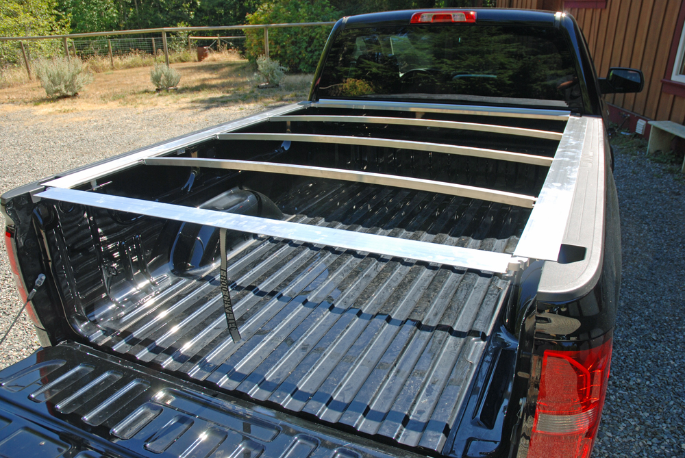 at thsi point we had the tonneau frame work pretty much nailed down while not entirely necessary we test fir the aluminum frame to the bed of our pickup - Truck Bed Frame