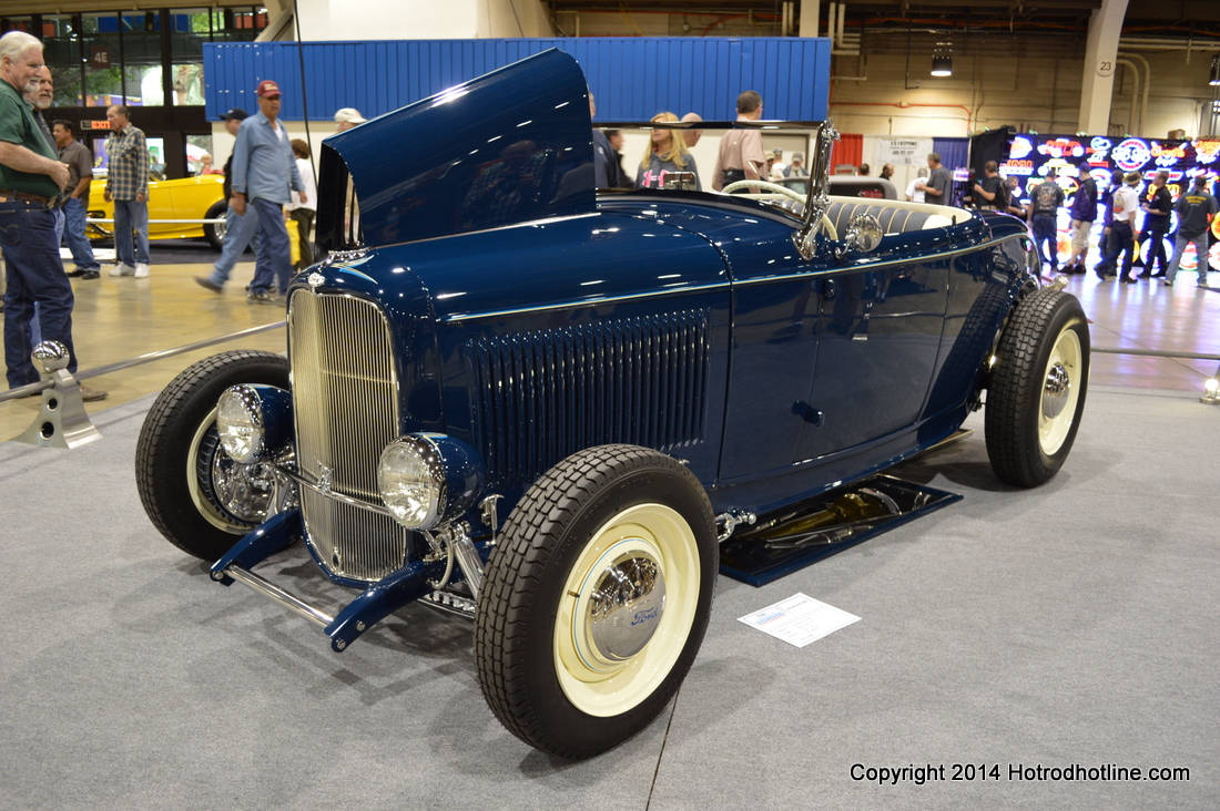 While we were admiring the entries for the americas most beautiful roadster competition at this years grand national roadster show a deep blue 32 ford