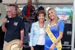 "– (l-r) Master of Ceremonies Rex McMillian, Debbie Baker and ""Bomber-Girl"" Angie  Kirkpatrick."