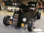 """""""Probiscus"""" is a 1929 Ford roadster with a curved front grille similar to track roadsters. The owner is Wayne Johnson from Hillsboro, OR."""